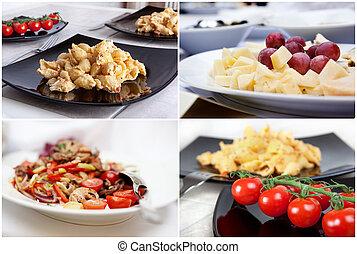 formaggio, cibo,  -,  collage,  pasta, italiano