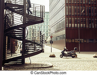 Card view: european street with stairs and motobike vintage,...