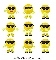 Cute Yellow Emoticon Art Illustration