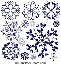 Collection violet snowflakes