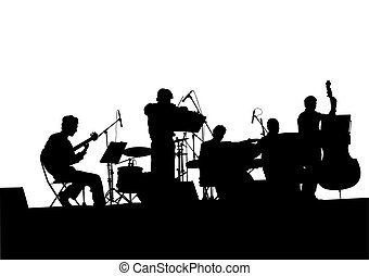Musical jazz band - Concert of jazz music on white...