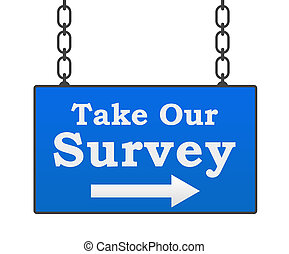 Take Our Survey Blue Signboard