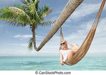 女性, 若い,  hummock, トロピカル, 振動, すてきである, 浜, 光景