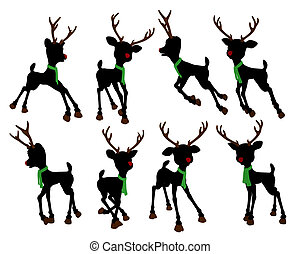 Rudolph The Red Nosed Reindeer Silhouette Illustration - An...