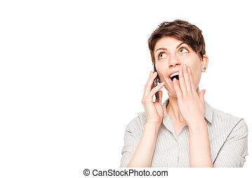 pleasantly shocked woman with mobile phone on a white background