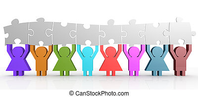 Eight people hold puzzle in a line image, 3D rendering