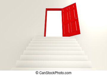 Staircase to red door