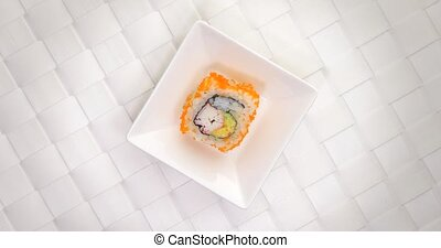 Pick crab sushi maki roll small plate