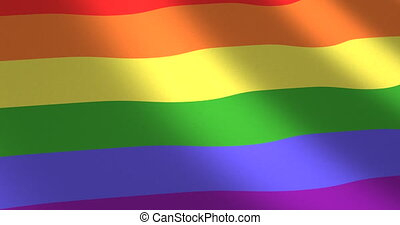 Rainbow or gay flag moved by wind - Rainbow or gay flag with...