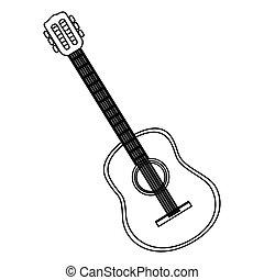 monochrome contour with acoustic guitar
