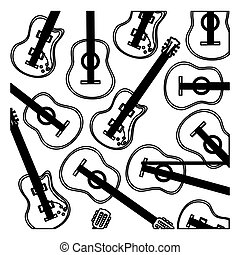 monochrome background with electric guitars set