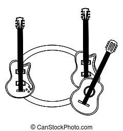 monochrome contour with guitars set electric and acoustic