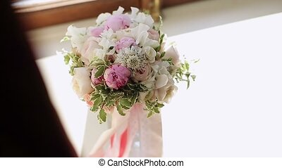 Wedding flowers bouquet on white background