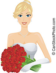 Bride - A Smiling Bride in a Pristine Gown Holding a Bouquet...