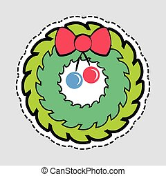 Christmas Green Wreath with Red Bow and Ribbon - Christmas...
