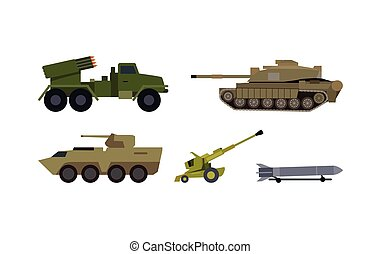 Types of Modern Armament Flat Vector Set - Modern armament...