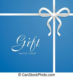 Gift. Vector Card. Narrow Long White Bow on Blue - Gift...