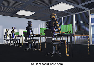 We are the robots - Robots in a big office