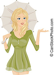 Woman with Umbrella - A Seductive Woman Extending Her Right...