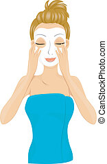Facial Mask - A Smiling Lady Wrapped in a Towel Coating Her...