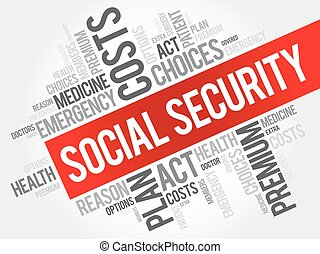 SOCIAL SECURITY word cloud collage, health concept...