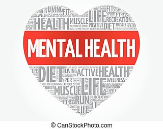 Mental health heart word cloud, fitness, sport, health...