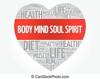 Body Mind Soul Spirit heart word cloud, fitness, sport,...