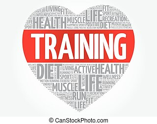 Trainer heart word cloud, fitness, sport, health concept