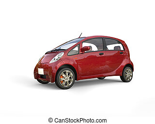 Cherry red electric compact car