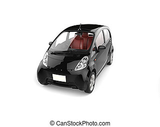Black electric economic modern car - top front view