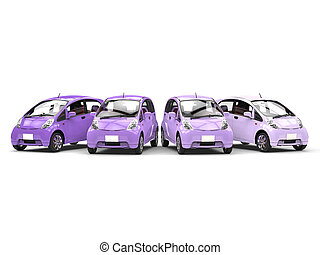 Economic modern compact cars in shades of purple