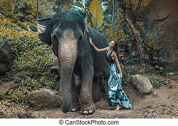 Pretty young lady cuddling an elephant - Pretty young woman...