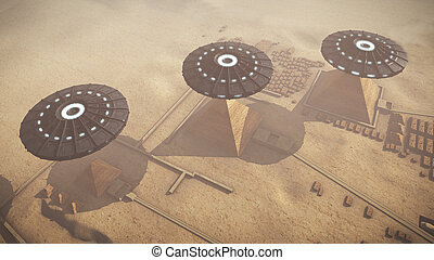 UFOs above Egypt Giza platform - A 3D rendered image of the...