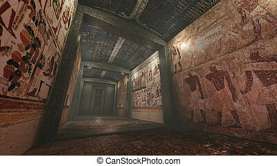 Tomb with old wallpaintings in ancient Egypt - A 3D rendered...