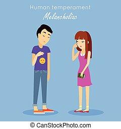 Human Temperament Concept Vector in Flat Design -...