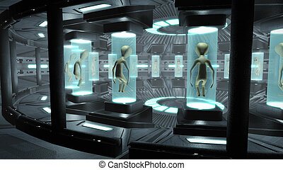 Interior of an UFO with aliens