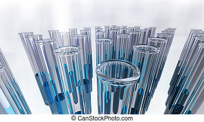 Glass laboratory test tubes in groups