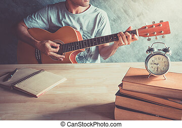 Guitar composing music