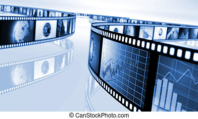 Film reels with stock market concepts - An image of film...