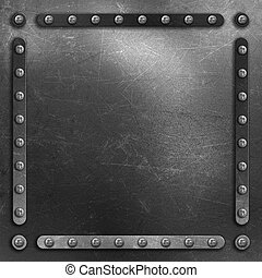 Scratched metal background with rivets