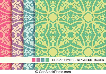 Elegant seamless pastel background set flower vine calyx...