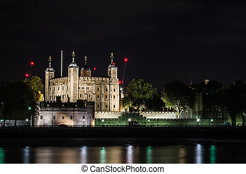 London River Thames nightscape. View to the Tower of London