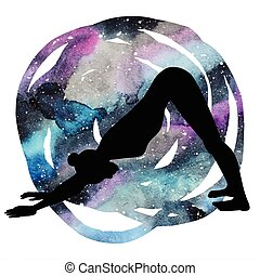 Women silhouette. Adho mukha svanasana. Downward dog yoga...