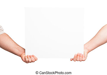 Hands holding a blank white board