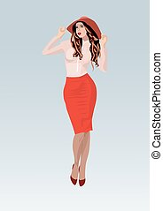 Pretty young girl in a red skirt - Young girl in a red skirt...