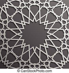 Seamless islamic pattern 3d . Traditional Arabic design element.