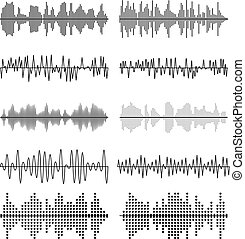 Sound wave forms vector illustration. Soundtrack audio music...