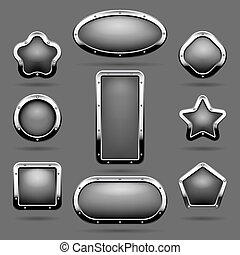 Chrome frames or metal panel buttons vector illustration
