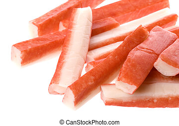 Crab Sticks Isolated - Isolated macro image of crab sticks.