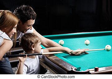 el, familia, juegos, billar